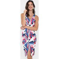 8406ba75b Vestido Morena Rosa Tubinho Estampado Midi - Feminino-Off White