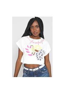 Camiseta Cropped Lança Perfume Peru Neon Off-White/Rosa