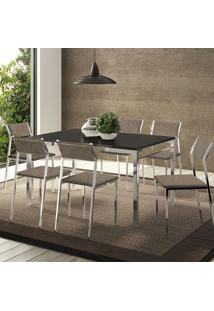 Conjunto Mesa 1526 Preta Cromada Com 6 Cadeiras 1709 Camurça Conhaque Carraro
