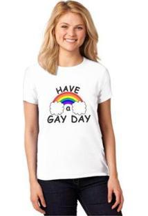 Camiseta T-Shirt Lgbt Have A Gay Day Baby Look Feminina - Feminino-Branco