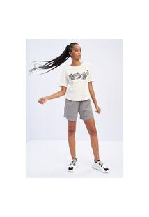 T-Shirt Reta Com Bordado Lança Perfume Camiseta Preto