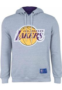 Casaco Moletom Los Angeles Lakers Canguru Logo Cinza - Nba