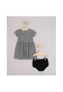 Vestido Infantil Listrado Manga Curta Dobrada + Calcinha Preto