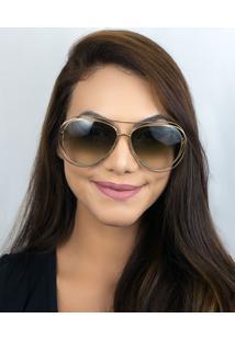 Óculos De Sol Feminino Chloé Carlina Ce134S 792 61 Dourado