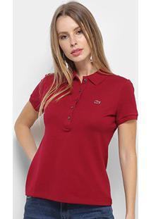 Camisa Polo Lacoste Piquet Manga Curta Feminina - Feminino-Vinho