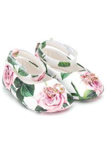 Dolce & Gabbana Kids Sapatilha Com Aplicação De Cristais E Estampa De Rosas - Branco