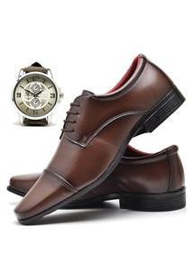 Sapato Social Masculino Asgard Com Relógio New Db 807Lbm Marrom