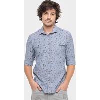 24629391853a7 Camisa Colcci Manga Longa Liberty Vintage - Masculino-Azul
