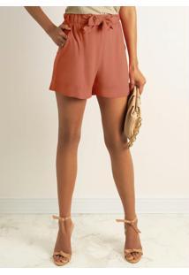 Shorts Em Tecido Com Bolso Vermelho