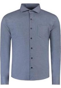 Camisa Vr Lisa Melange Bolso Masculina - Masculino-Azul