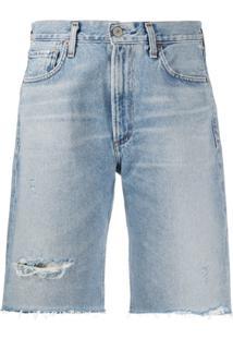 Citizens Of Humanity Bermuda Jeans Com Acabamento Desfiada - Azul