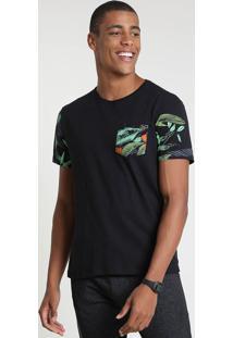 Camiseta Masculina Com Bolso Estampado Manga Curta Gola Careca Preta