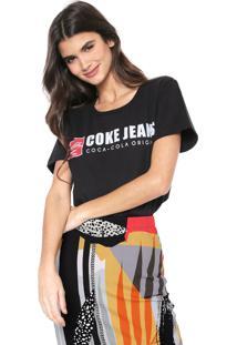 Camiseta Coca-Cola Jeans Aroma Lettering Preta