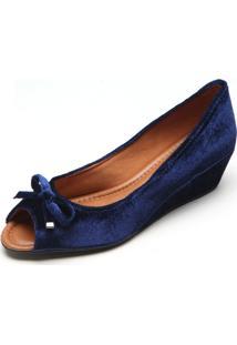 Peep Toe Dafiti Shoes Veludo Laço Azul
