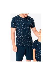 Pijama Masculino Curto Malwee 100083415 Azul Marinho