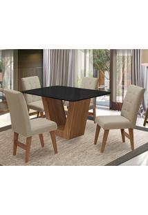 Conjunto De Mesa Para Sala De Jantar Com 4 Cadeira Veneza-Dobue - Cedro / Preto / Bege Vlp