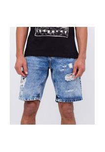 Bermuda Slim Em Jeans Com Puídos   Blue Steel   Azul   44