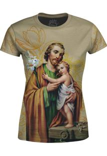 Camiseta Estampada Baby Look Over Fame São José Floral