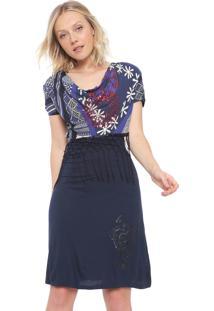 Vestido Desigual Curto Franjas Azul