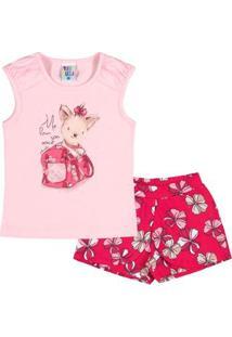 Conjunto Infantil Pulla Bulla Cotton Feminino - Feminino-Rosa+Vermelho