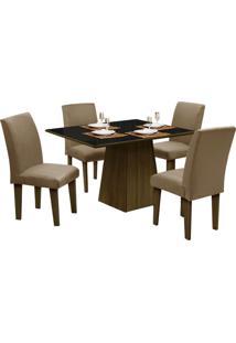 Mesa Para Sala De Jantar Com 4 Cadeiras Florença – Dôbue - Castanho / Preto / Mascavo