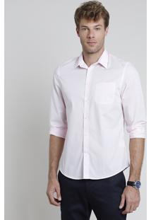Camisa Social Masculina Comfort Com Bolso Manga Longa Rosa Claro