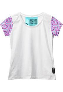 Camiseta Baby Look Feminina Algodão Estampa Manga Curta Leve - Feminino-Rosa+Branco