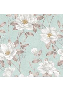 Papel De Parede Floral- Verde Água & Bege- 300X0,58Cjmi Decor