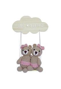 Enfeite Maternidade Gêmeas Ursinhas Crochê Nuvem Nome Bebê Potinho De Mel