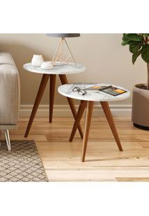 Mesa De Canto 500 Retrô – Be Mobiliário - Branco / Carrara