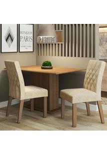 Conjunto Sala De Jantar Madesa Lia Mesa Tampo De Madeira Com 2 Cadeiras Marrom - Marrom - Dafiti