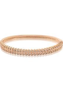 Bracelete Folha Cravejado Com Zircônias Folheado A Ouro Rosê