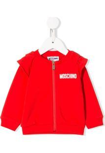 Moschino Kids Jaqueta Bomber Com Zíper E Logo - Vermelho