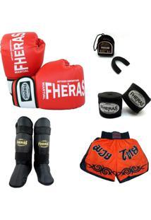 Kit Muay Thai Oríon Luva Bandagem Caneleira Shorts Bucal 08 Oz - Unissex