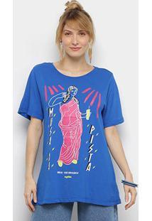 Camiseta Cantão Musas Contemporâneas Manga Curta Feminina - Feminino-Azul