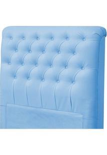 Cabeceira Solteiro Livia Para Cama Box De 90 Cm Corino Azul - Jm Estofados