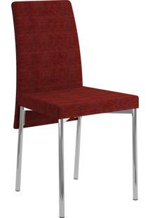Kit 2 Cadeiras 306 Tecido Floral Móveis Carraro Vermelho