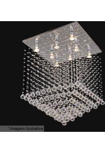 Plafon Quadrado- Cristal & Prateado- 82X60X60Cm-Hevvy