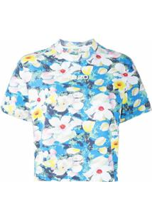 Kenzo Camiseta Com Logo E Estampa Floral - Azul