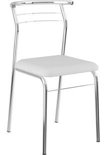 Kit 2 Cadeiras 1708 Napa Cromado Móveis Carraro Branco