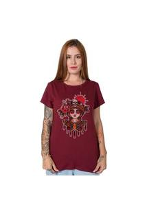 Camiseta Butterfly Girl Bordô