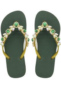 Chinelo Mandala Cristal Verde