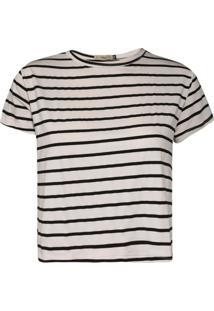 Camiseta Feminina Cropped Listras Off White/Preto