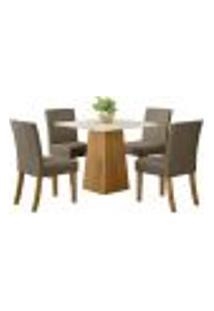 Sala De Jantar Mesa Dora 90Cm Com 4 Cadeiras Maris Nature/Off White/Bege - Henn
