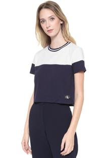 Camiseta Cropped Calvin Klein Jeans Color Block Branco/Azul-Marinho