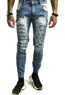 Calça Rich Young Rasgada Punho Com Tinta Jeans