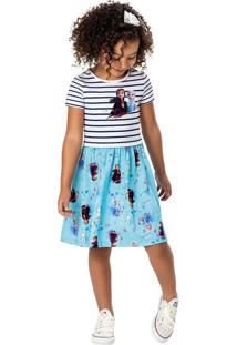 Vestido Listrado Frozen® Menina Malwee Kids