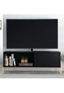 Rack Para Tv Até 48 Polegadas 1 Porta Br 52 Preto/Pinus Claro - Brv Moveis