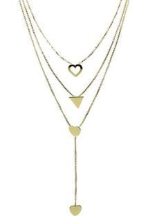 Colar Piuka Califa 3 Voltas Folheado Em Ouro 18K - Feminino-Dourado