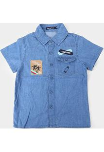 Camisa Jeans Infantil Plural Kids Summer Vibes Menino - Masculino-Azul Escuro